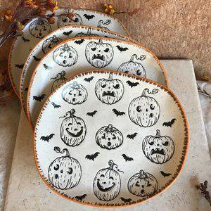 Halloween Rustic Pumpkin Bat Asymmetrical Plates